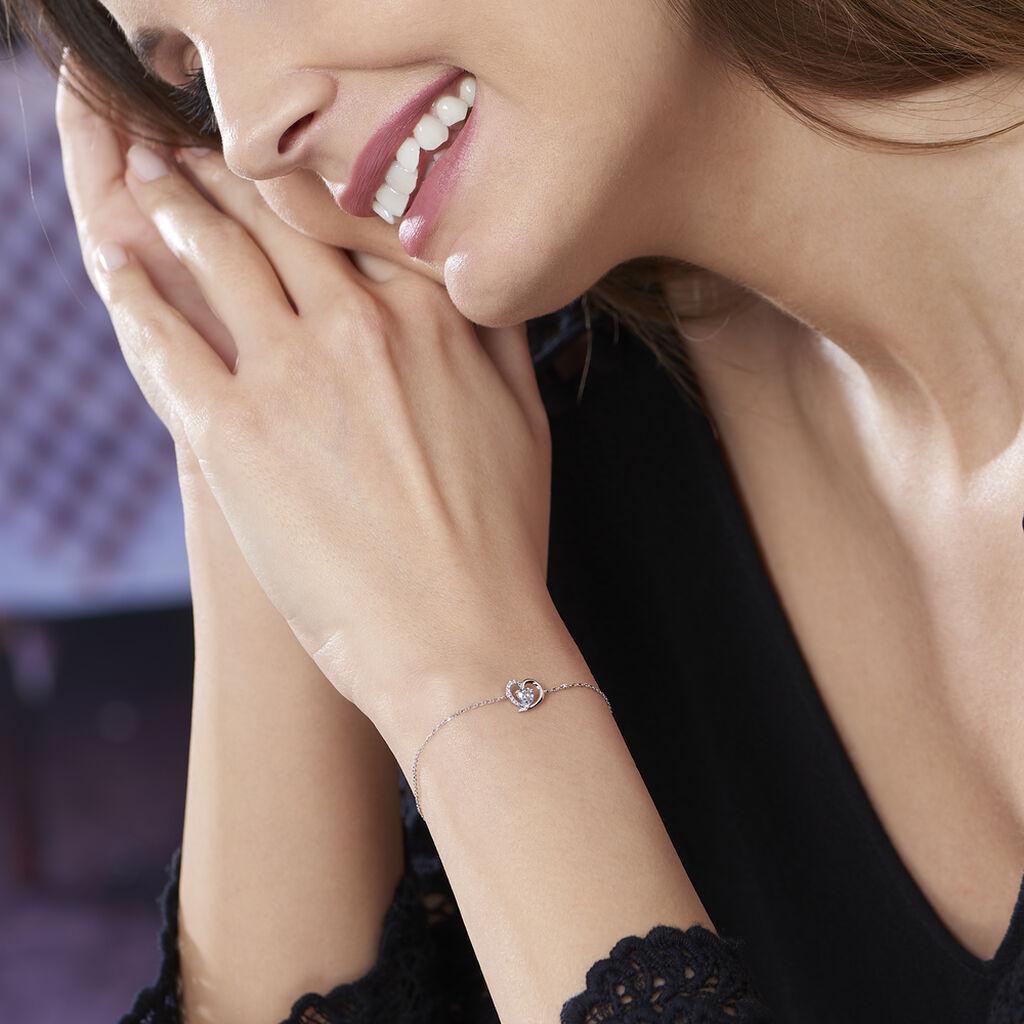 Bracelet Eliana Or Blanc Topaze Et Oxyde De Zirconium - Bracelets Coeur Femme   Histoire d'Or