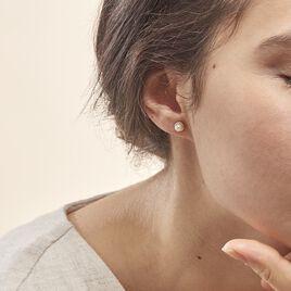 Boucles D'oreilles Puces Valliamee Diamante Or Jaune Perle De Culture - Clous d'oreilles Femme   Histoire d'Or
