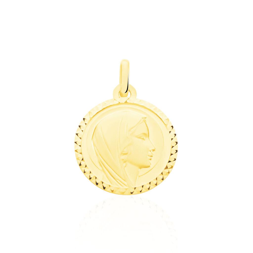 Pendentif Vierge Rond Strie Or Jaune - Bijoux Vierge Unisexe | Histoire d'Or