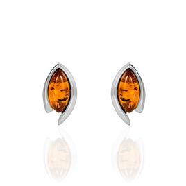 Boucles D'oreilles Pendantes Maelyeae Argent Blanc Ambre - Boucles d'oreilles fantaisie Femme | Histoire d'Or