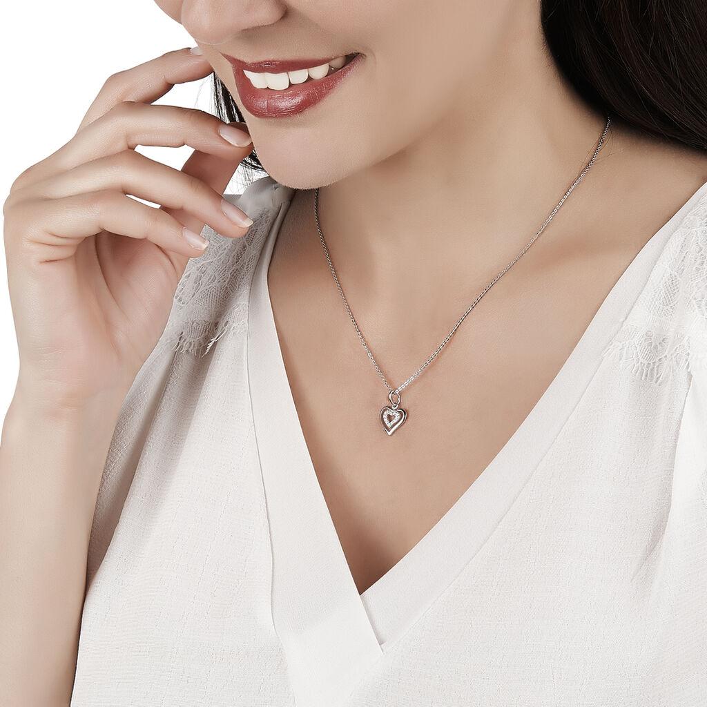 Collier Alihan Argent Blanc Oxyde De Zirconium - Colliers Coeur Femme   Histoire d'Or