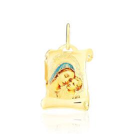 Pendentif Vierge A L'enfant Parchemin Or Jaune - Bijoux Vierge Unisexe | Histoire d'Or