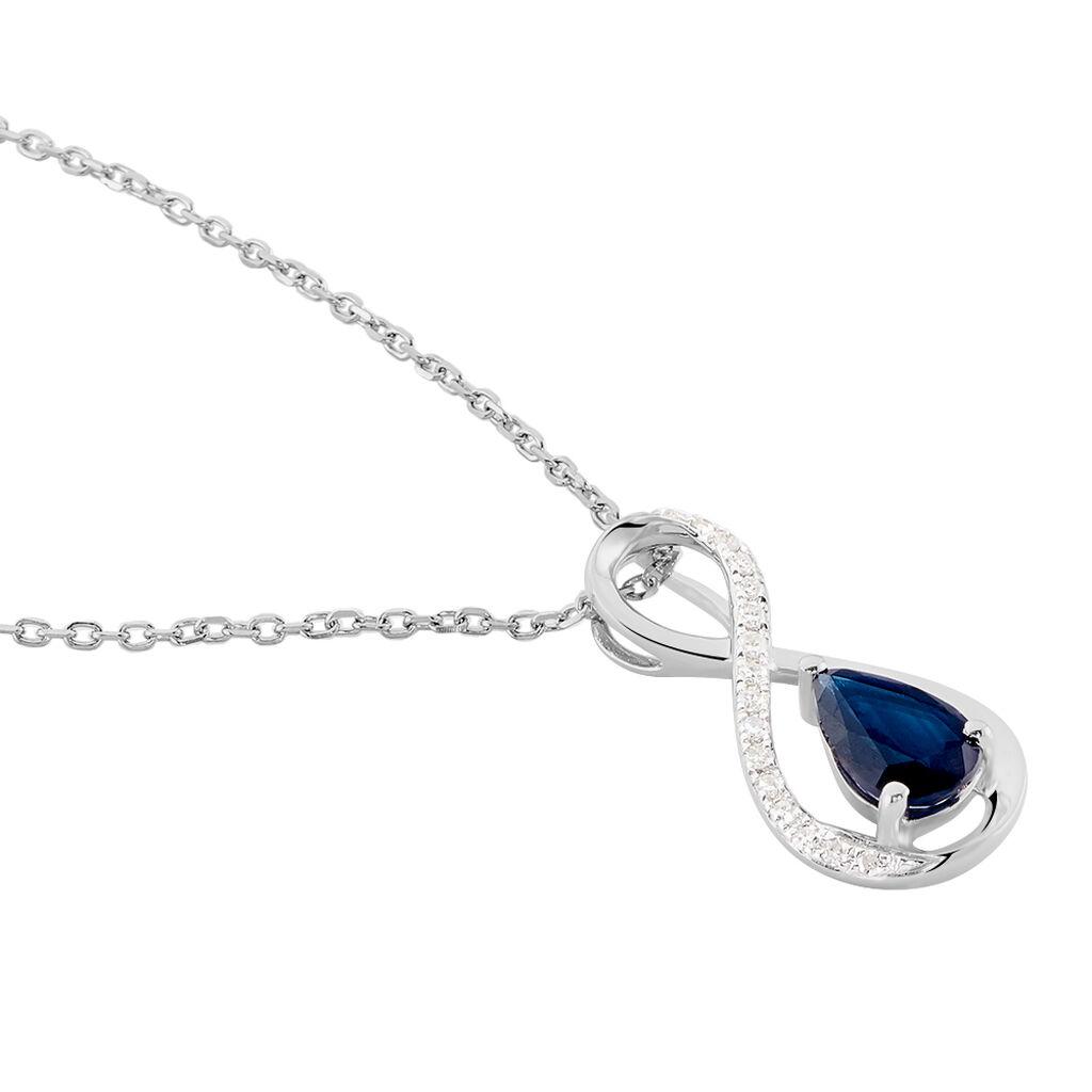 Collier Odessa Or Blanc Saphir Diamant - Bijoux Femme   Histoire d'Or
