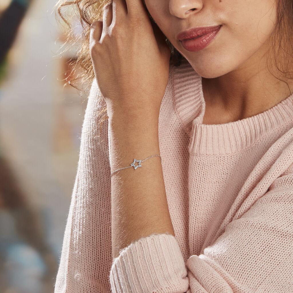 Bracelet Argent Rhodié Dmitri Oxydes De Zirconium - Bijoux Etoile Femme   Histoire d'Or