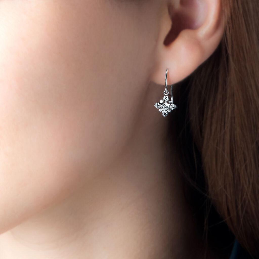 Boucles D'oreilles Pendantes Flocon Argent Blanc Oxyde De Zirconium - Boucles d'oreilles fantaisie Femme | Histoire d'Or