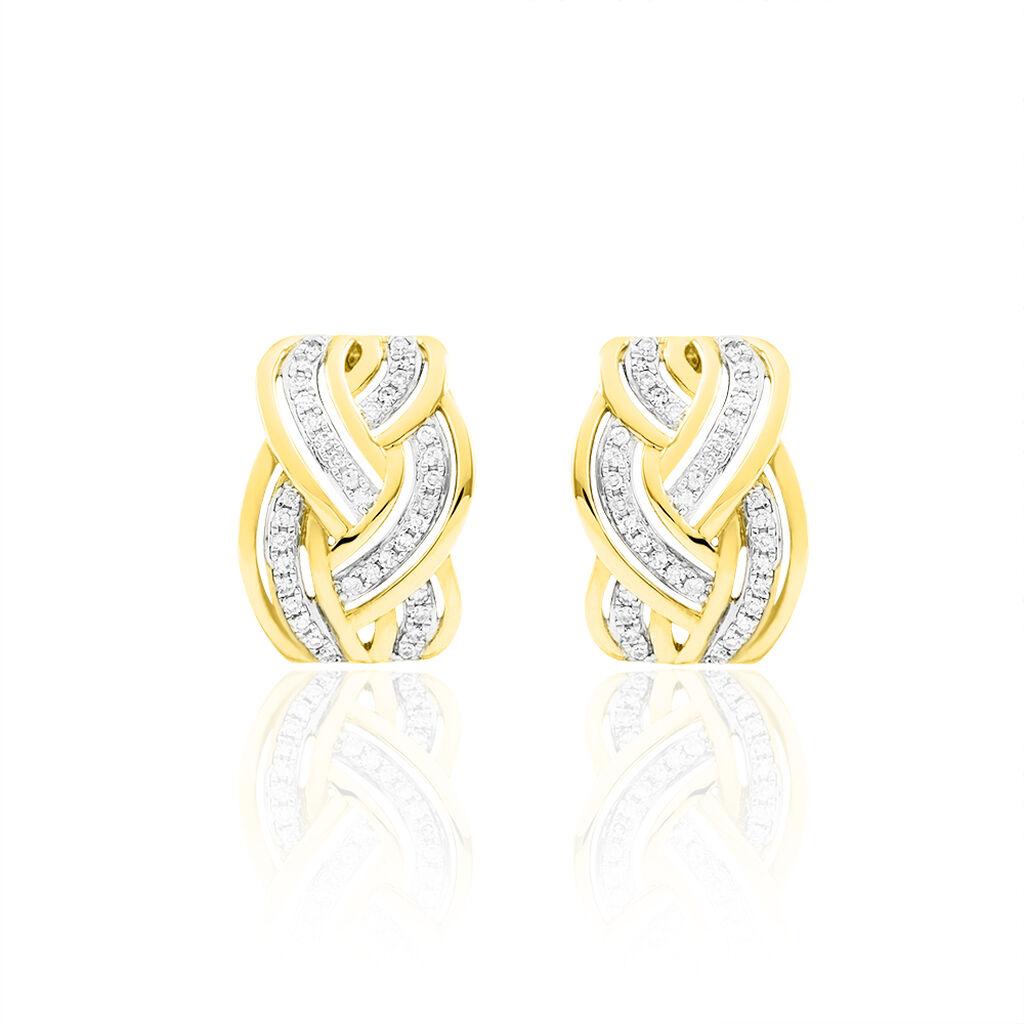 Boucles D'oreilles Puces Leopoldine Or Jaune Diamant - Boucles d'oreilles pendantes Femme   Histoire d'Or