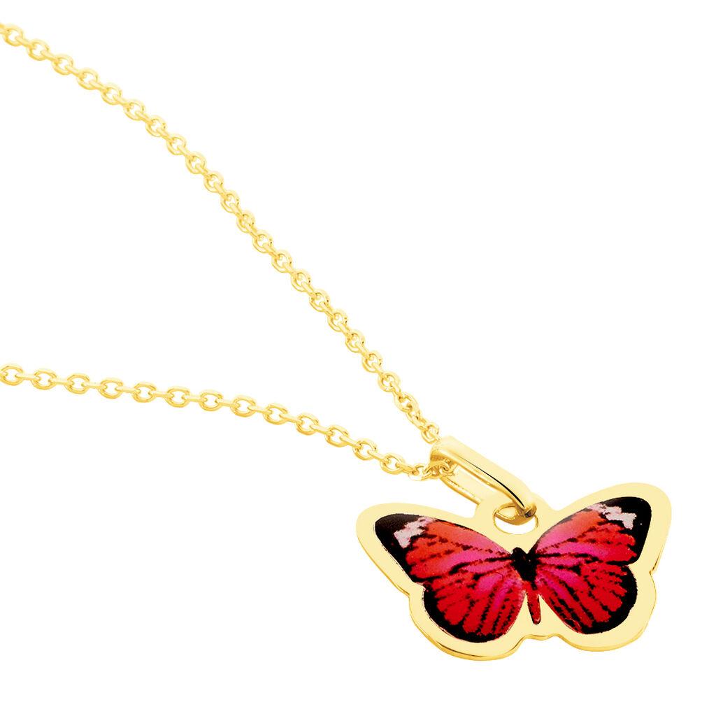 Collier Sulivia Papillon Or Jaune - Colliers Naissance Enfant   Histoire d'Or