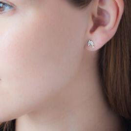 Boucles D'oreilles Puces Eleanor Dauphin 0 Or Jaune Strass - Clous d'oreilles Femme | Histoire d'Or