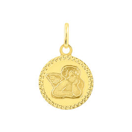 Pendentif Ange Rond Cisele Or Jaune - Pendentifs Famille | Histoire d'Or