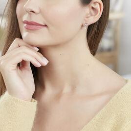 Boucles D'oreilles Pendantes Rosa Or Blanc Oxyde De Zirconium - Boucles d'oreilles pendantes Femme   Histoire d'Or