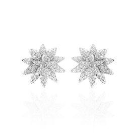 Boucles D'oreilles Puces Maddi Or Blanc Diamant - Clous d'oreilles Femme   Histoire d'Or