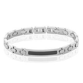 Bracelet Identité Acier Blanc Barnard - Bracelets fantaisie Homme | Histoire d'Or