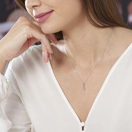 Collier Shaeen Or Blanc Diamant - Bijoux Femme   Histoire d'Or