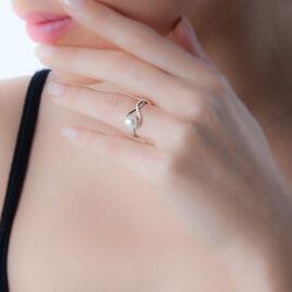 Bague Davy Or Blanc Perle De Culture Et Diamant - Bagues avec pierre Femme | Histoire d'Or