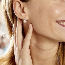 Boucles D'oreilles Davy Or Blanc Perle De Culture Oxyde - Clous d'oreilles Femme   Histoire d'Or