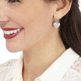 Boucles D'oreilles Pendantes Valentine Argent Blanc Oxyde De Zirconium - Boucles d'Oreilles Coeur Femme   Histoire d'Or