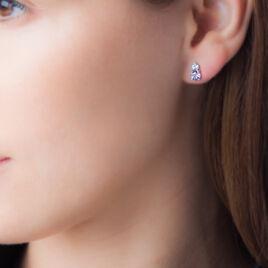 Boucles D'oreilles Puces Or Blanc Amethyste Et Topaze - Clous d'oreilles Femme | Histoire d'Or
