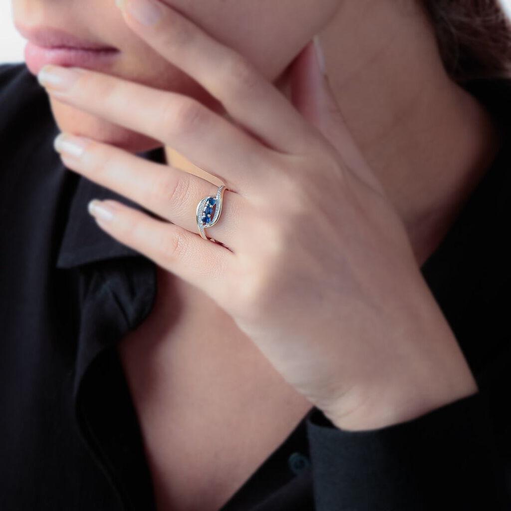 Bague Aurora Or Bicolore Saphir Et Diamant - Bagues avec pierre Femme | Histoire d'Or