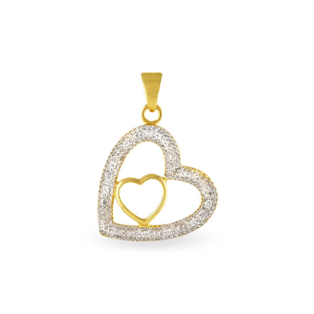 Pendentif Euxane Plaque Or Jaune Oxyde De Zirconium - Pendentifs Coeur Femme   Histoire d'Or