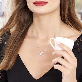 Collier Aisha Argent Blanc Oxyde De Zirconium - Colliers Lune Femme | Histoire d'Or