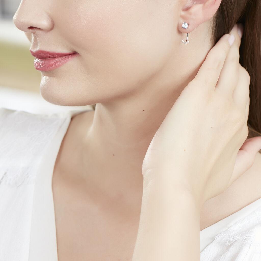 Bijoux D'oreilles Or Blanc Topaze Et Diamant - Ear cuffs Femme | Histoire d'Or