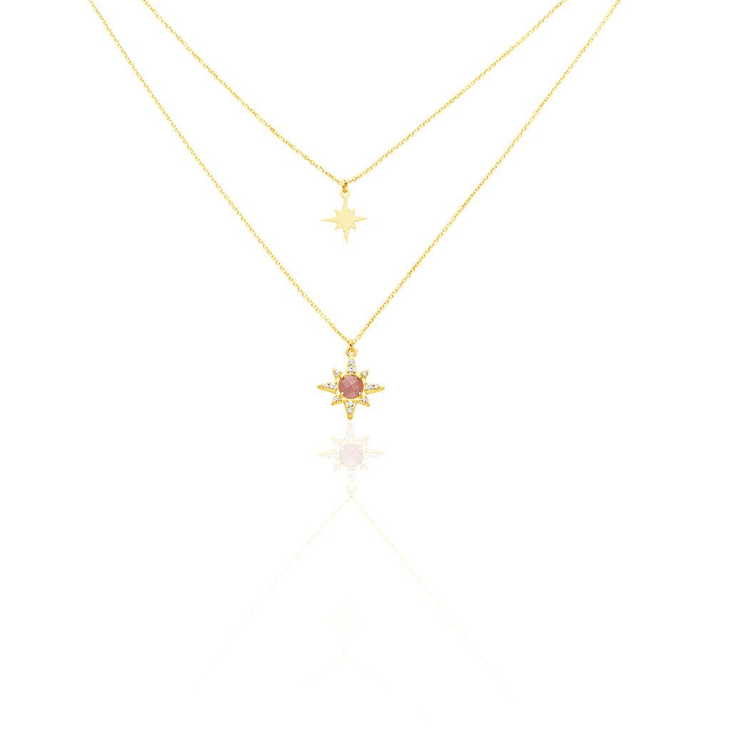 Collier Terrie Or Jaune Calcedoine Et Oxyde De Zirconium - Colliers Etoile Femme   Histoire d'Or