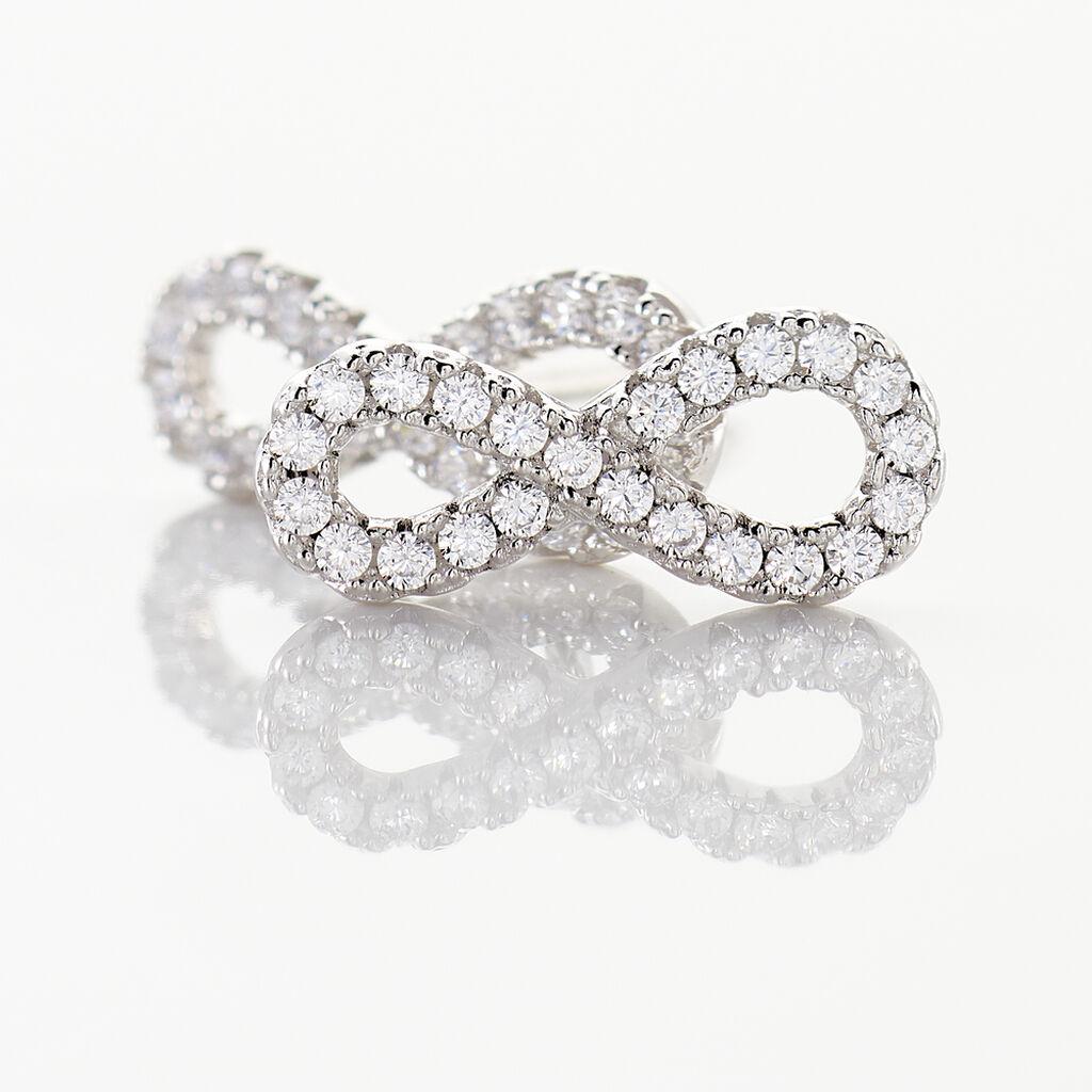 Boucles D'oreilles Puces Clélia Argent Blanc Oxyde De Zirconium - Boucles d'Oreilles Infini Femme   Histoire d'Or
