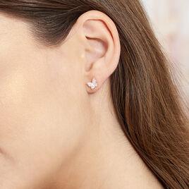 Boucles D'oreilles Puces Anne-lise Argent Rose Oxyde De Zirconium - Boucles d'Oreilles Papillon Femme | Histoire d'Or