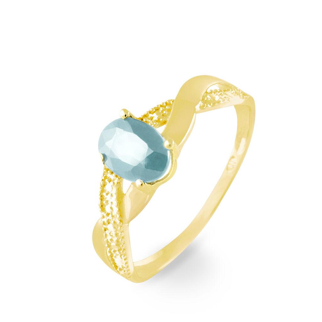 Bague Candice Or Jaune Aigue Marine - Bagues avec pierre Femme   Histoire d'Or