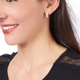 Créoles Sarida Rondes Argent Blanc Oxyde De Zirconium - Boucles d'oreilles créoles Femme | Histoire d'Or