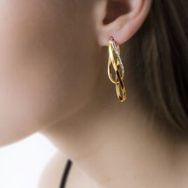 Créoles Micha Vrillees Ovales Or Bicolore - Boucles d'oreilles créoles Femme | Histoire d'Or