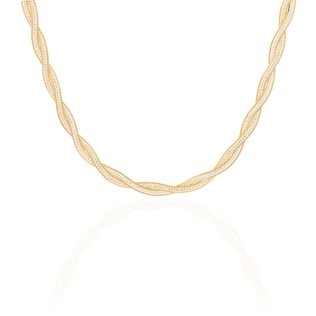 Collier Anaiz Maille Tresse Argent Bicolore - Chaines Femme | Histoire d'Or