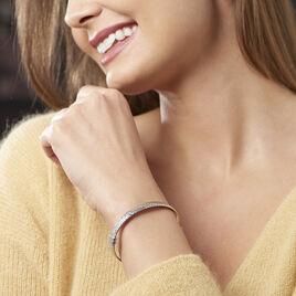 Bracelet Jonc Esmee Argent Blanc - Bracelets joncs Femme   Histoire d'Or