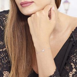 Bracelet Rana Argent Blanc Oxyde De Zirconium - Bracelets Papillon Femme   Histoire d'Or