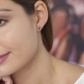 Boucles D'oreilles Puces Acacia Argent Blanc Ambre - Boucles d'oreilles fantaisie Femme | Histoire d'Or