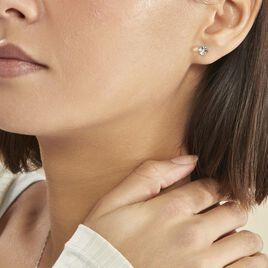 Boucles D'oreilles Puces Bridie Argent Blanc Pierre De Synthese - Boucles d'oreilles fantaisie Femme   Histoire d'Or