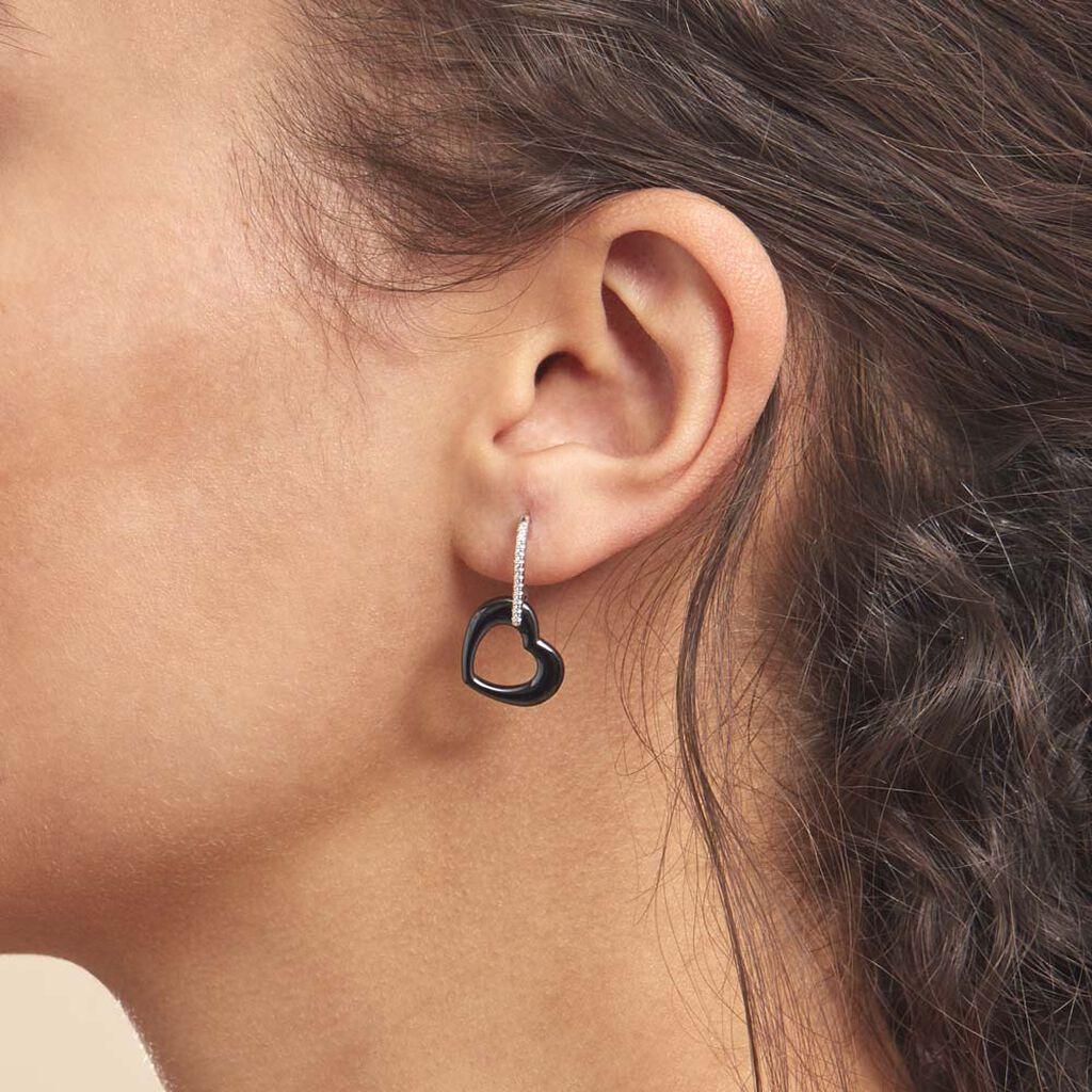 Boucles D'oreilles Pendantes Elodie Argent Oxyde Et Céramique - Boucles d'Oreilles Coeur Femme   Histoire d'Or