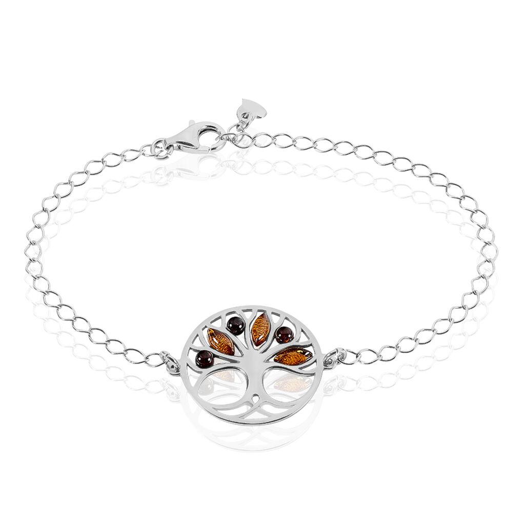 Bracelet Odaya Argent Blanc Ambre - Bracelets Arbre de vie Femme | Histoire d'Or