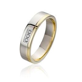 Alliance Lary Bicolore Or Bicolore Diamant - Alliances Famille   Histoire d'Or