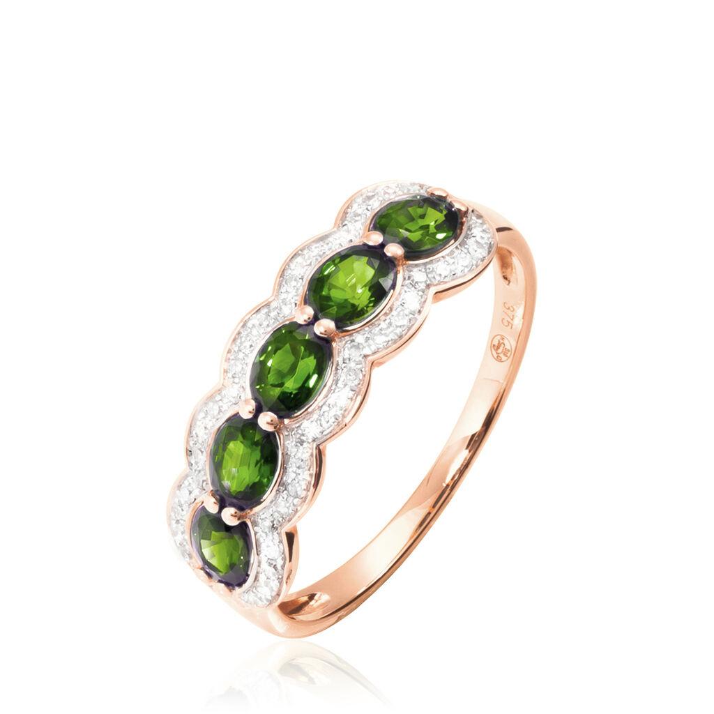 Bague Margaux Or Rose Péridot Et Diamant - Bagues avec pierre Femme   Histoire d'Or