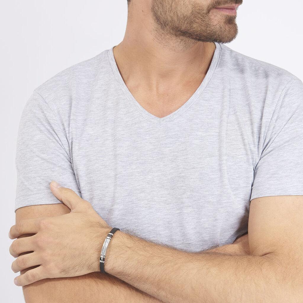 Bracelet Eric Acier Blanc Pierre De Synthese - Bracelets fantaisie Homme | Histoire d'Or