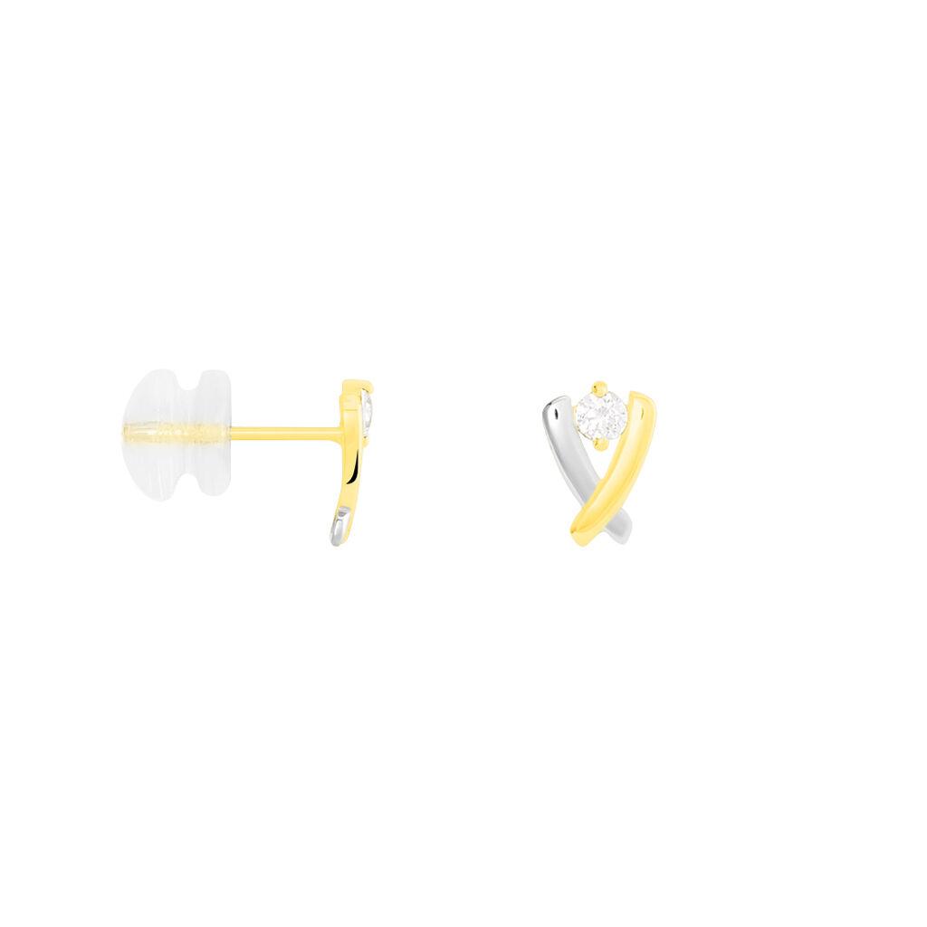 Boucles D'oreilles Pendantes Daiana Or Bicolore Oxyde De Zirconium - Boucles d'oreilles pendantes Femme   Histoire d'Or
