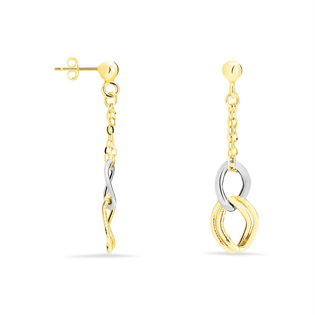 Boucles D'oreilles Pendantes Louisa Or Bicolore