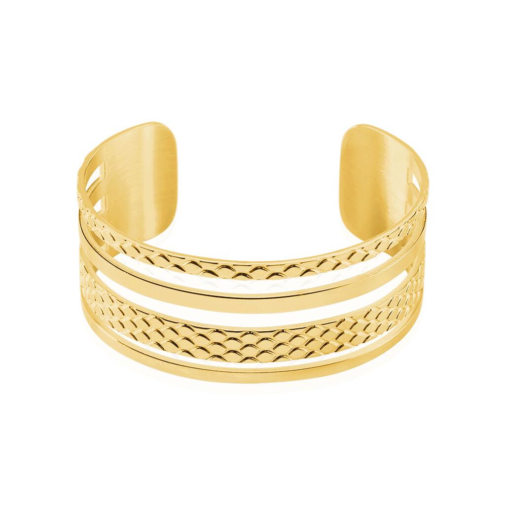 Bracelet Jonc Abram Acier Jaune - Bracelets fantaisie Femme   Histoire d'Or