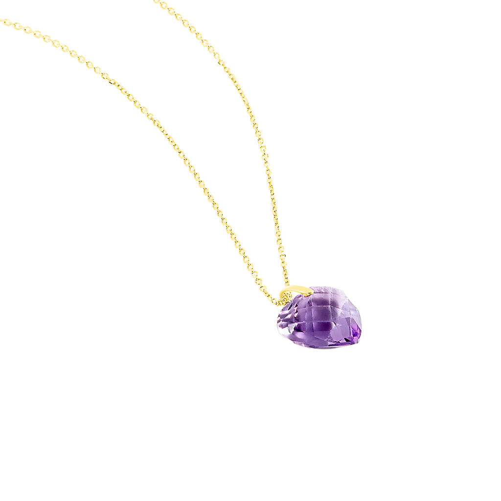 Collier Ludmille Or Jaune Amethyste - Colliers Coeur Femme   Histoire d'Or