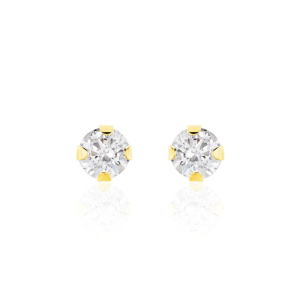 Boucles D'oreilles Puces Eddie Or Jaune Oxyde De Zirconium - Clous d'oreilles Femme   Histoire d'Or