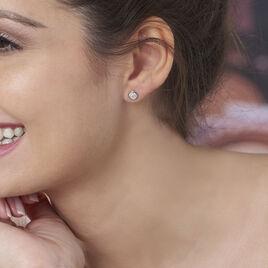 Boucles D'oreilles Puces Edmee Cercle 0 Or Rose Strass - Clous d'oreilles Femme | Histoire d'Or