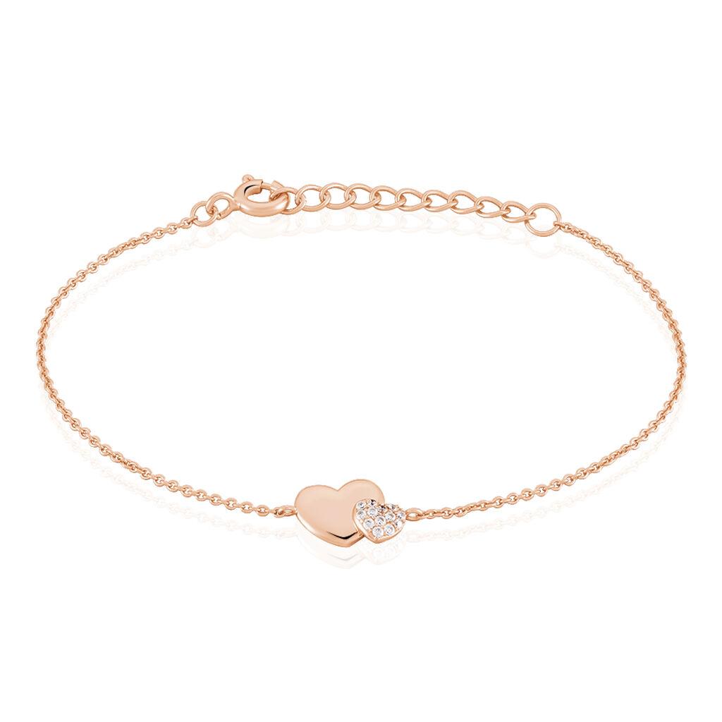 Bracelet Flamen Argent Rose Oxyde De Zirconium - Bracelets Coeur Femme | Histoire d'Or