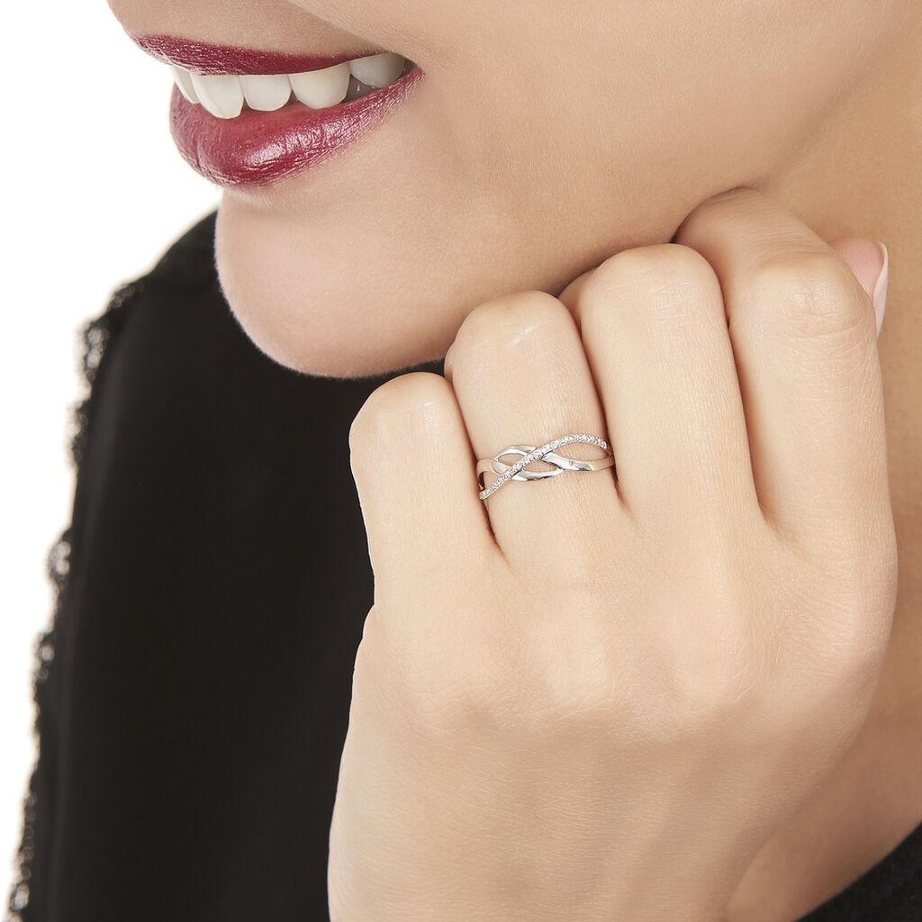 Bague  Or Blanc Et Diamants - Bagues avec pierre Femme   Histoire d'Or