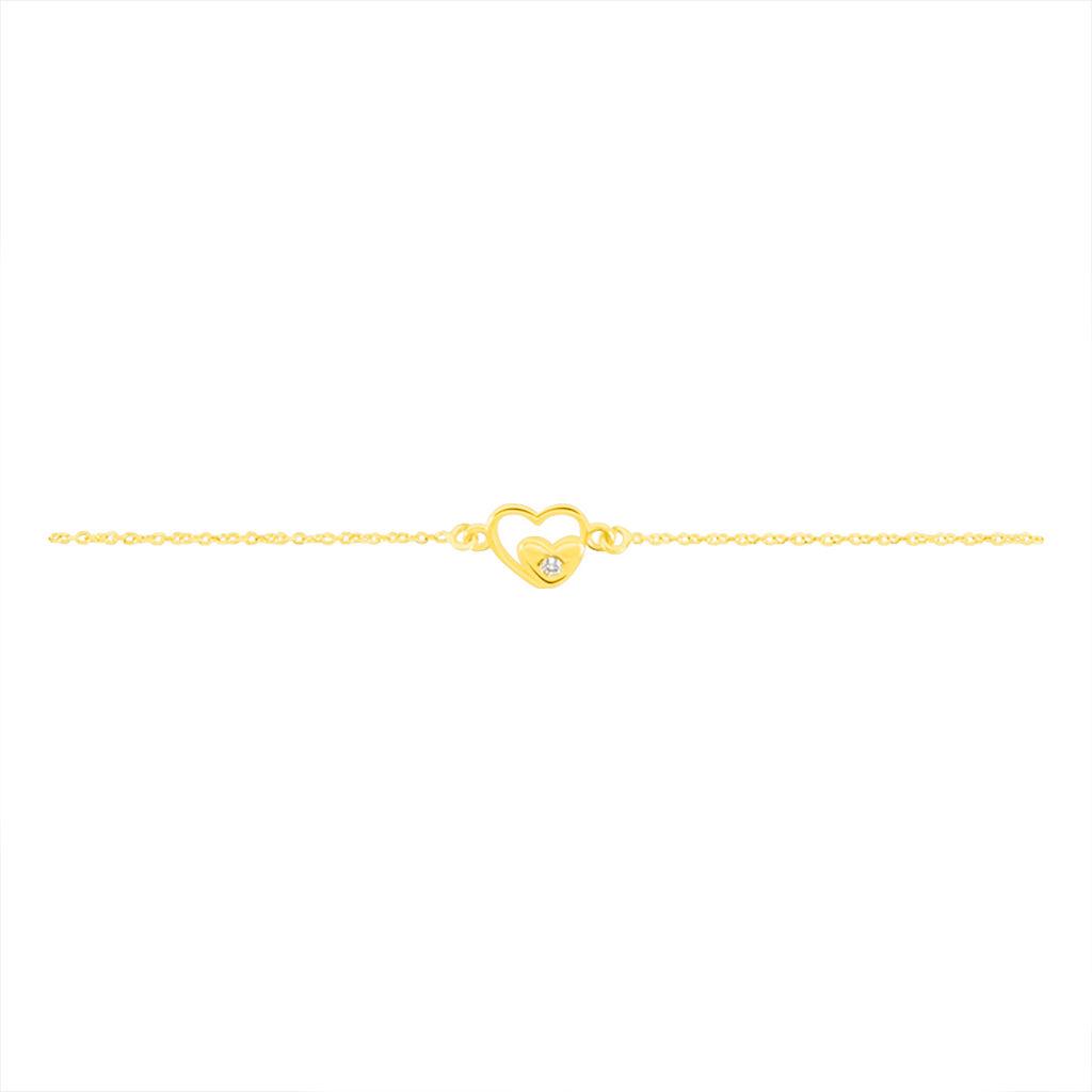 Bracelet Terentille Coeur Or Jaune Oxyde De Zirconium - Bracelets Coeur Enfant   Histoire d'Or